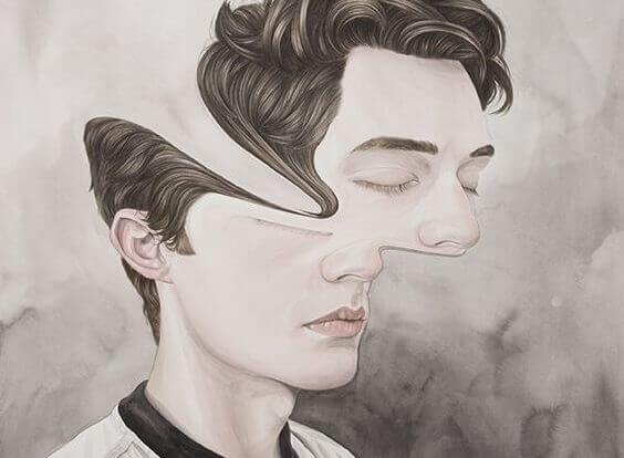Homem com o rosto abstrato