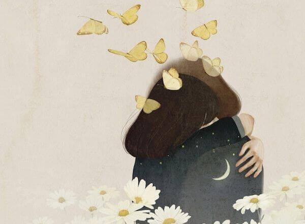 Casal abraçado com borboletas voando
