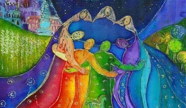 Grupo unido aceitando todos os membros