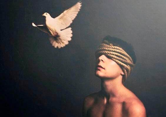 Homem com pomba branca