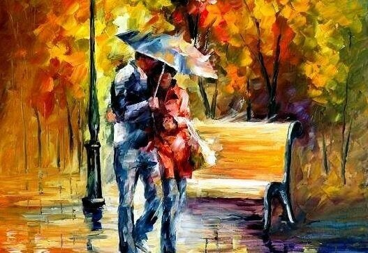 Casal apaixonado passeando na chuva