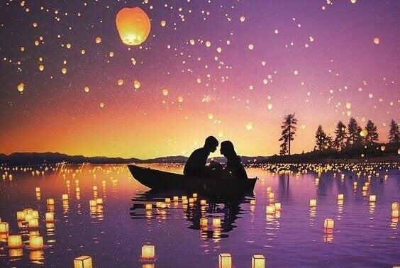 Casal apaixonado em barco
