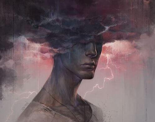 Tempestade sobre um homem