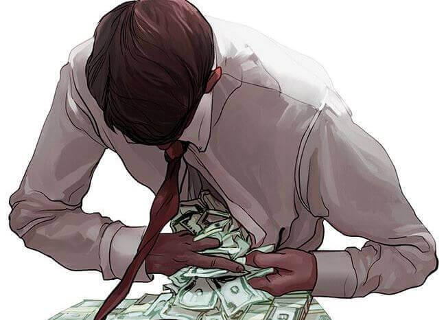 Homem obcecado por dinheiro