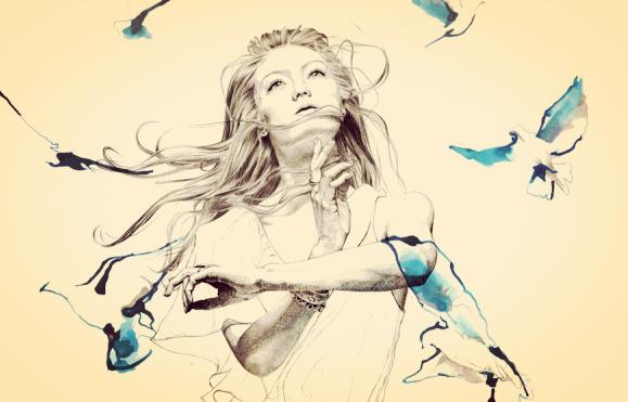 Ilustração de mulher com pássaros voando