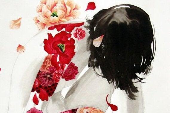 Pessoa com rosas coloridas