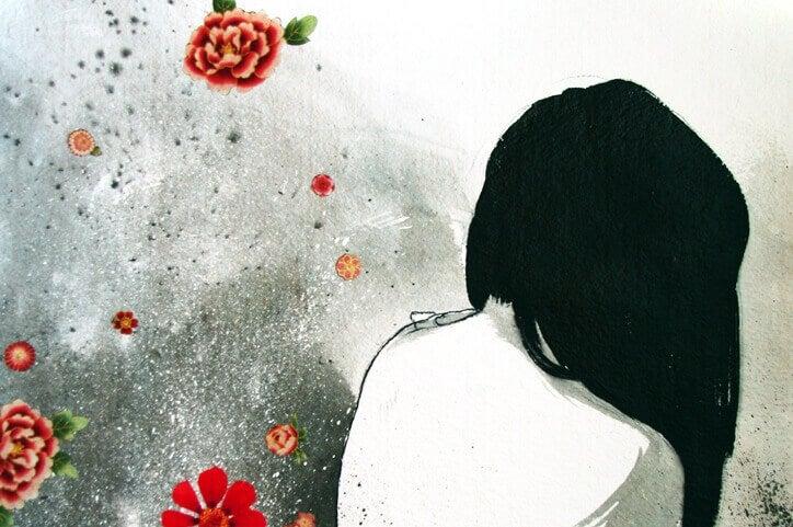 Mulher tentando liberar emoções