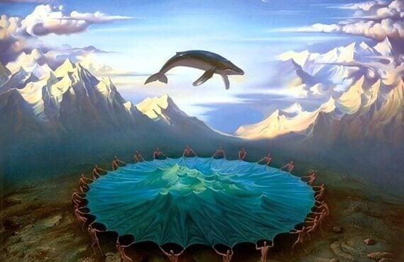 Mundo fantástico com baleia voando