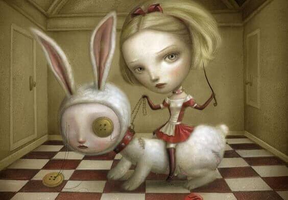 Menina sentada em coelho
