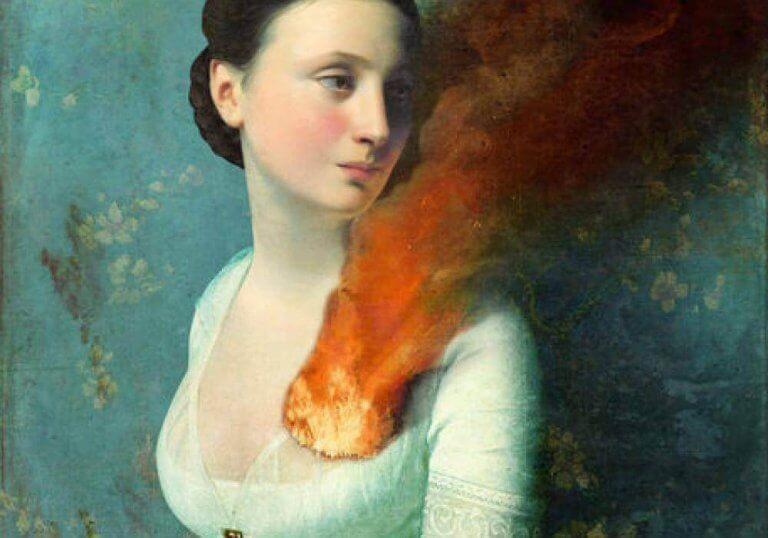 Mulher com o coração em chamas