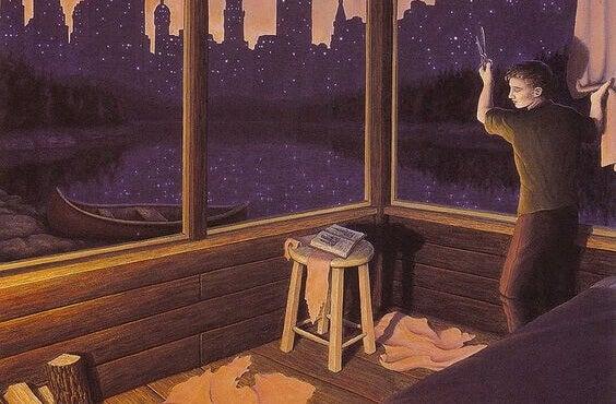 Homem observando cidade por janela