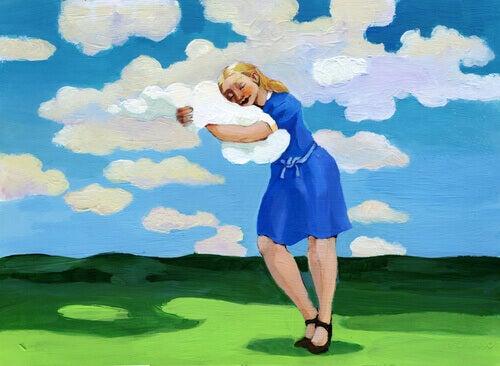 Mulher abraçando nuvem