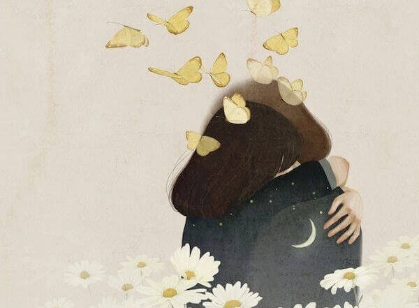 Casal abraçado para enfrentar a tristeza