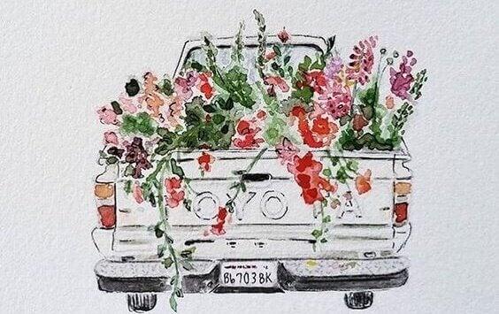 Carro carregando flores