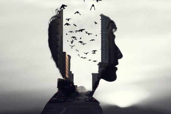 Perfil de homem com pássaros voando