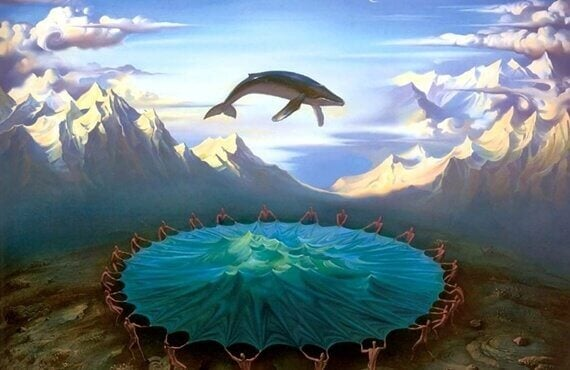 Baleia voando sobre mar