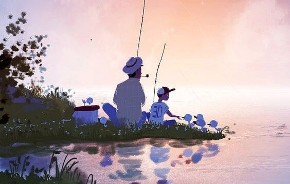 Pai e filho pescando juntos