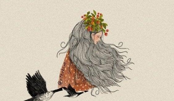 Mulher de cabelos cinza