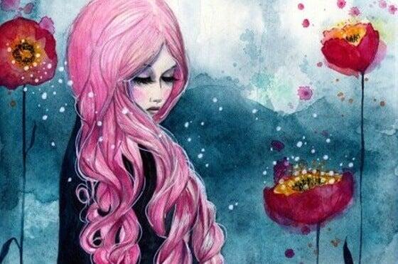 Mulher de cabelos cor-de-rosa