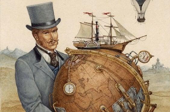 Homem segurando globo terrestre