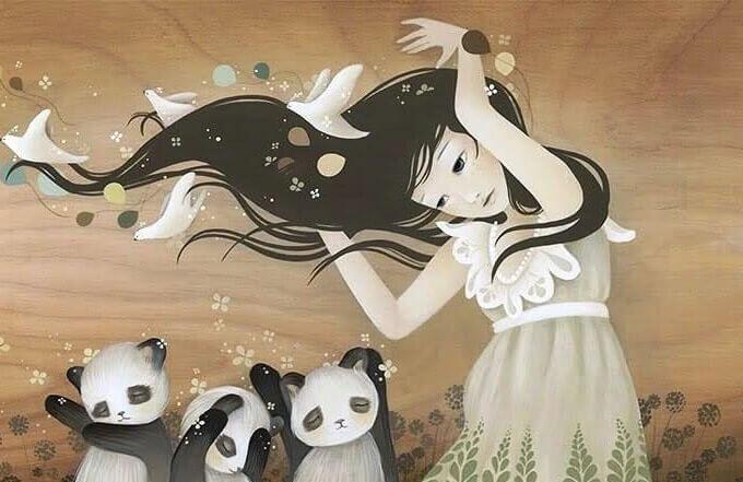 Meninas com ursos panda