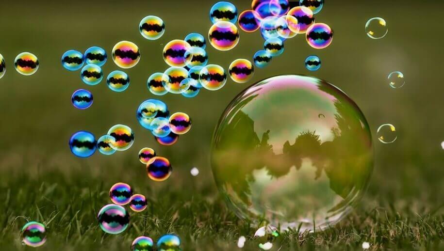 Bolhas de sabão representando pequenos momentos
