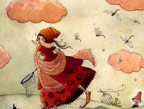 Mulher caçando libélulas fora da zona de conforto