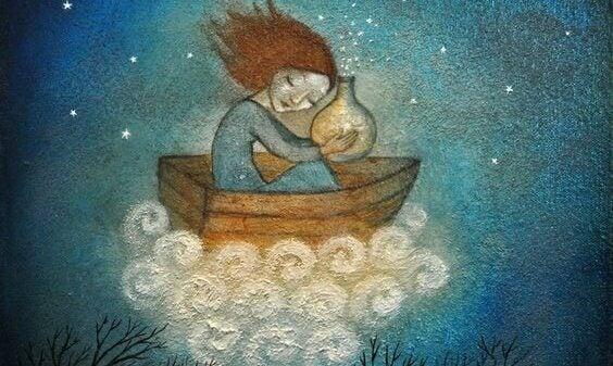 Mulher navegando em nuvem