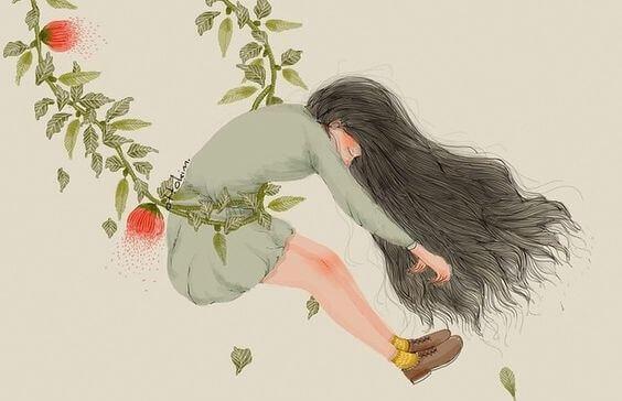 Menina em balanço de flores
