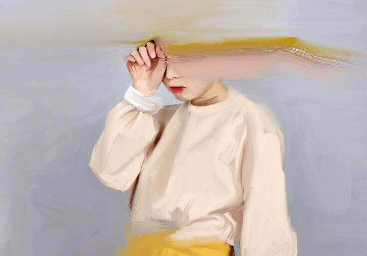 Pintura de menina com mão no rosto