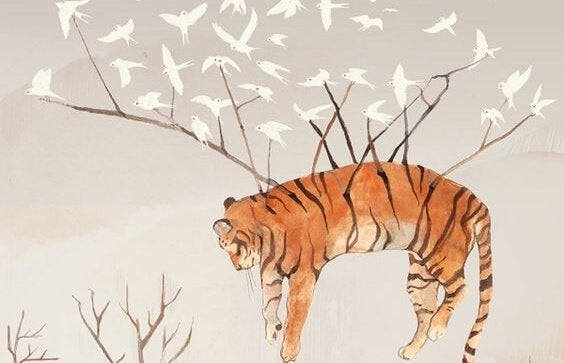 Tigre carregado por passaros