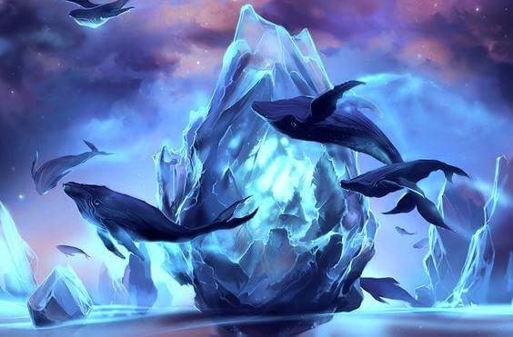 Baleias voando em mundo da fantasia