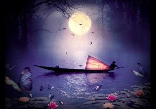Barco oriental à noite