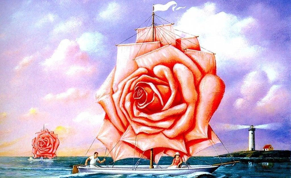 Barco com vela em formato de rosa