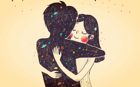 Casal apaixonado e abraçado