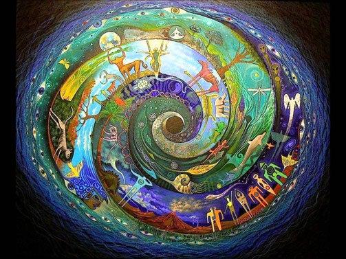 Espiral com figuras coloridas