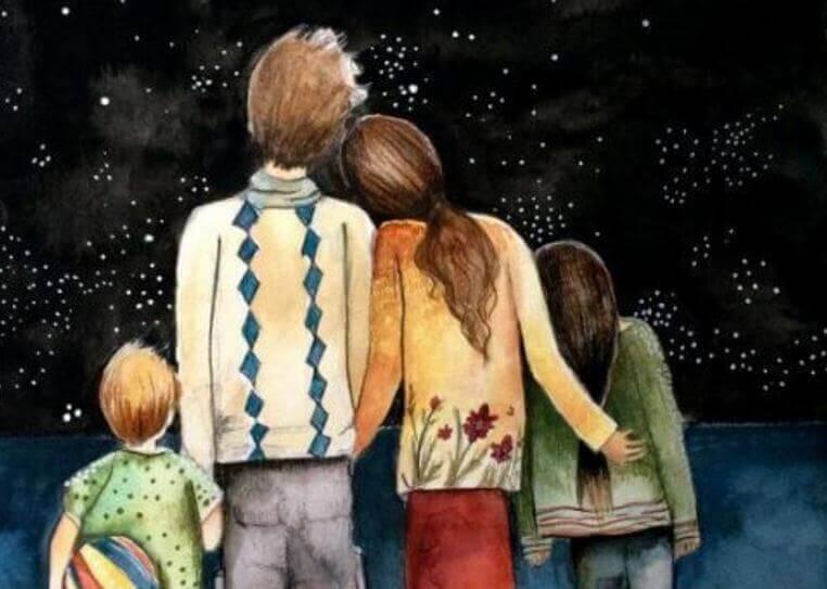 Família unida observando as estrelas