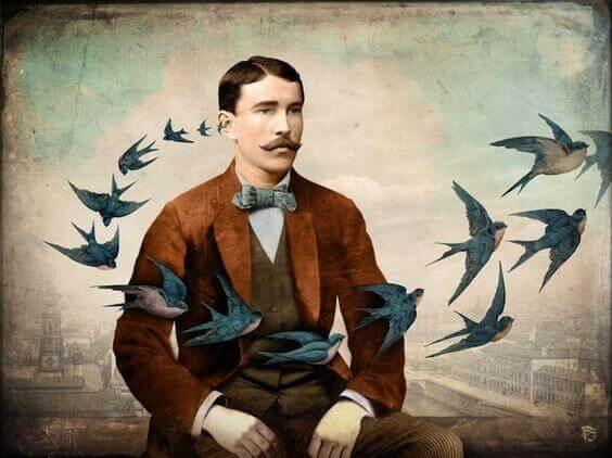 Homem com pássaros voando à sua frente