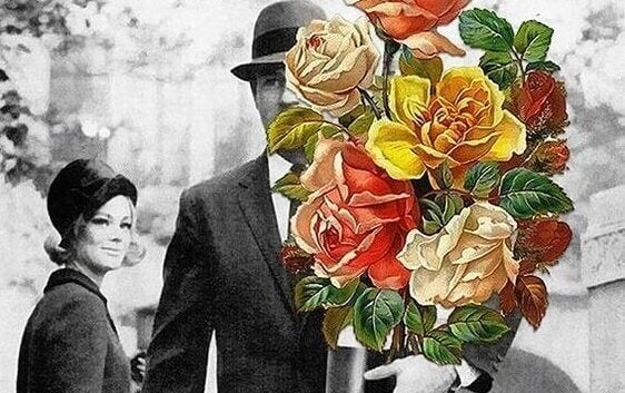 Homem levando flores para mulher