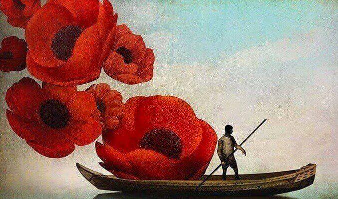 Homem em barco com flores gigantes