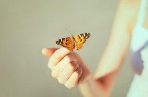 Mulher segurando borboleta