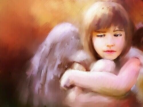 Menina triste passando por luto