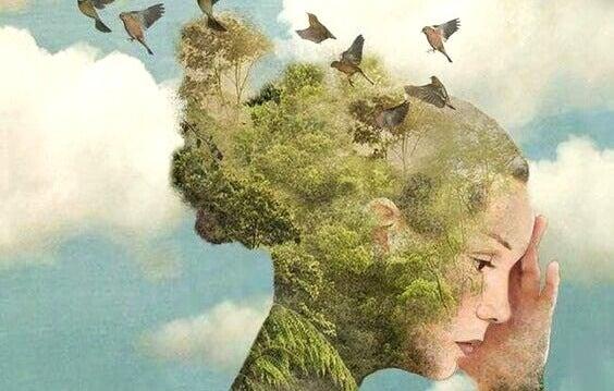 Mulher com pássaros e natureza na cabeça