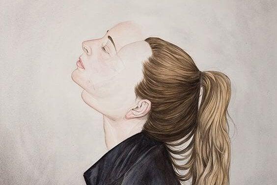 Desenho de mulher com dois rostos