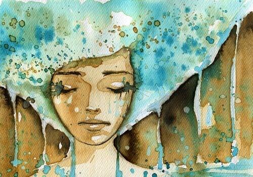Mulher chorando lágrimas azuis