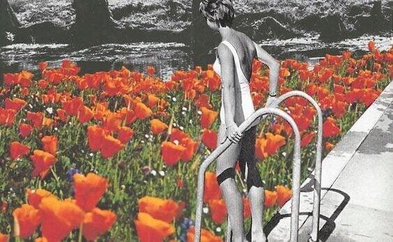 Mulher pronta para mergulhar em piscina de flores