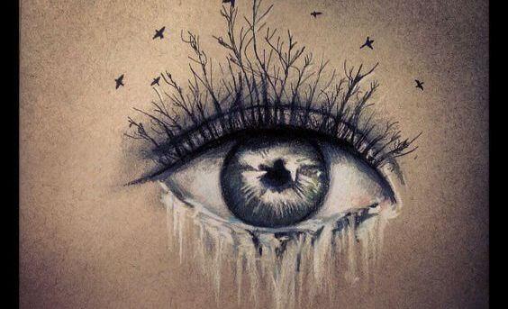 Olho chorando lágrimas congeladas