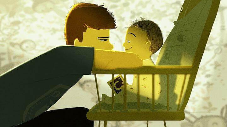 Pai olhando nos olhos de seu filho pequeno