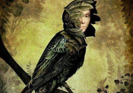 Pássaro com rosto de homem