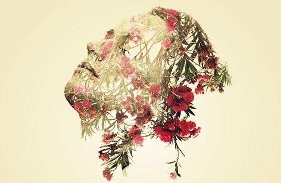 Rosto de mulher com flores